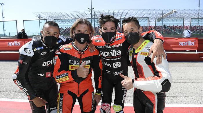 I grandi campioni Aprilia insieme sul circuito di Misano